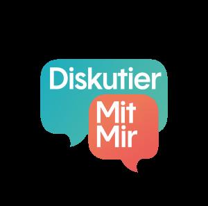 Logo: Diskutier mit mir e.V. verknüpft Menschen unterschiedlicher Positionen mit digitalen Diskussions-Tools