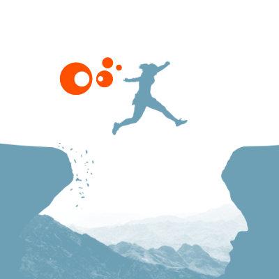 Bild: Frau springt über Abgrund mit orangen Blubberblasen