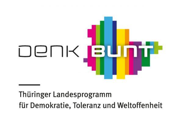 Logo und externer Link: Denkbunt, Thüringer Landesprogramm für Demokratie, Toleranz und Weltoffenheit