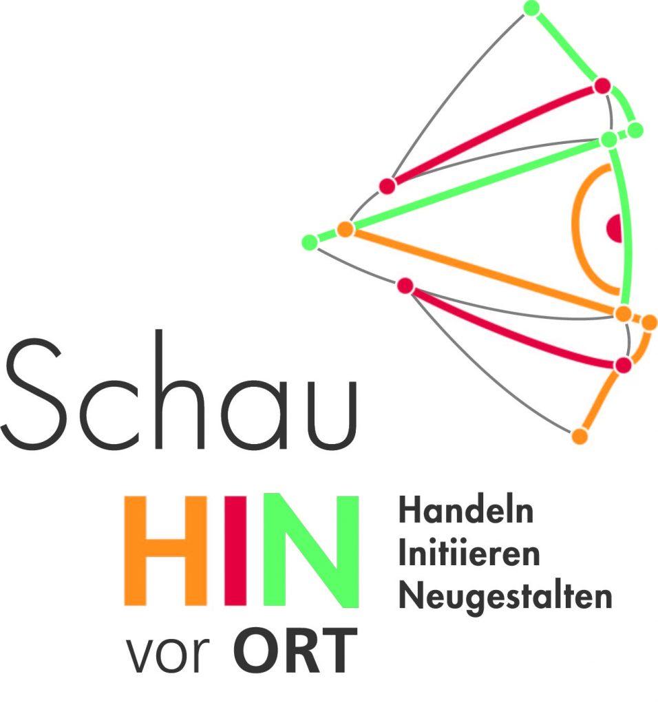 """Logo """"Schau hin vor Ort – Handeln, Initiieren, Neugestlaten."""